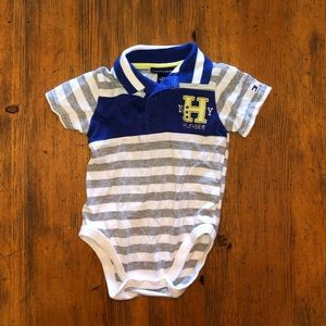 Blue Baby Rugby Style Striped Button Infant Onesie